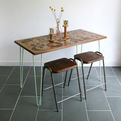 *LIMITED EDITION* The Hairpin 'Taste Delight' - Foodie inspired Iroko Desk / Table www.mustardvintage.com