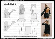Jumpsuit with open back. Look Fashion, Diy Fashion, Ideias Fashion, Fashion Design Template, Pattern Fashion, Easy Sewing Patterns, Clothing Patterns, Formal Dress Patterns, Costura Fashion