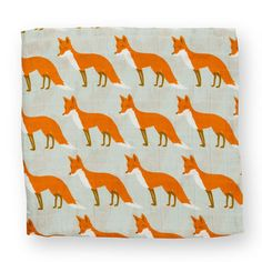 Muslin Swaddle Blanket Orange Fox - $28.00  Soft muslin swaddle with all over print.