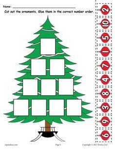 FREE Printable Christmas Tree Ordering Numbers Worksheet 1 10