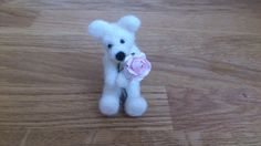 Valentines day gift needle felted miniature teddy by FeltedByRikke