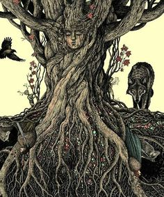 Under the Heart Tree by Bubug (Bottom) (Summer prowls, a Three-Eyed Crow and two Children of the Forest observe. Eddard and Lady, Robb and Grey Wind, passed over from this life, are below the earth now but still under the gods' sight. Lord Stark kneels before Lady, as if to acknowledge something… And Bran Stark? Bran has gone deeper than any of them.
