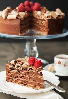 Chocolate meringue mousse cake