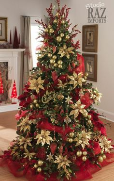 This classical decorating idea artificial pre-lit Christmas tree is decorated with vintage ornaments in gold and red.