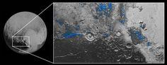 冥王星の表面で、氷が露出した領域を青で示した画像。米航空宇宙局(NASA)の無人探査機「ニュー・ホライズンズ」が観測したデータに基づき作成された。NASAウェブサイトより(2015年10月8日取得)。(c)NASA/JHUAPL/SwRI ▼9Oct2015AFP|冥王星に「青空」と「水の氷」、NASA探査機が観測 http://www.afpbb.com/articles/-/3062640 #Pluto #بلوتو #冥王星 #Плутон #Plutón #پلوتو #명왕성
