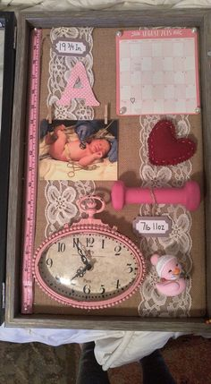Shadow box for the day your baby was born. I love the idea of burlap background n the little tacks n lace, I'd change a lot of other objects though