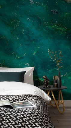 Another example of texture wallpaper that you can install in your room is the Jade Gemstone Cristal Wall Mural, which features the bluey-green hues of the gemstone, Jade. According to the myth, Jade symbolizes energy, and is a stone often associated with calmness. #wallpaper #murals #wallmurals #interior #interiordesign #design #home #homedecor #interiordecor #accentwall #inspiration #Ihavethisthingswithwalls