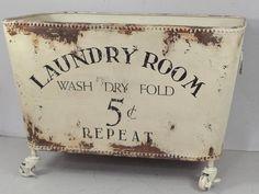 Wäschekorb auf Rollen chic antique Wäschebox metall Metallbox vintage shabby