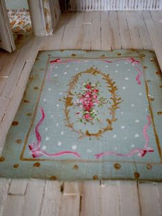 Inspiration to paint a fake rug on a wooden floor ! so beautiful ! Cinderella Moments: Alana's Bakery Dollhouse