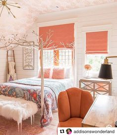 Bright, cheerful and whimsical... Everything a girl could want in @addisonswonderland\'s bedroom complete with #romanshades in Summerland Tangerine ☺️ Click our bio link for more pictures and the story behind the remodel. #repost #smithandnoble #girlsbedroom #interiordesign #windowtreatments #interiorinspiration ・・・ Without Smith & Noble, I\'m fairly certain Addison\'s bedroom windows would still be graced with a fancy ol\' bed sheet and I\'d still be pondering fabrics and workrooms. Or maybe eve...