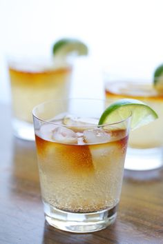 Dark & Stormy Cocktail - Limes, Ginger, Ginger Beer, Dark Rum. For when I want to imagine I am back in Bermuda!