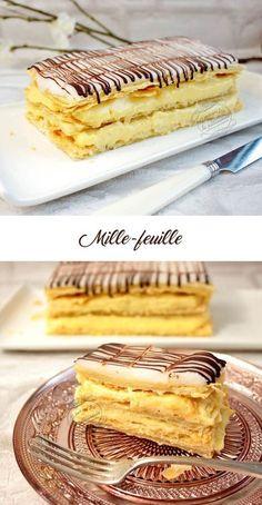 Le mille-feuille (ou millefeuille) traditionnel maison avec pâte feuilletée rapide, crème pâtissière et glaçage comme en boulangerie !