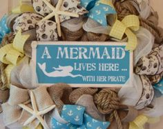 Nautical Navy and Red Burlap and Mesh Wreath by ChewsieCreations