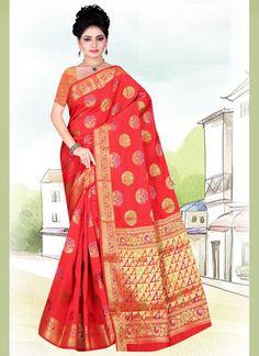Weaving Red Art Silk Casual Saree Celebrity Gowns, Casual Saree, Latest Sarees, Red Art, Fabric Shop, Sarees Online, Weaving, Sari, Celebrities