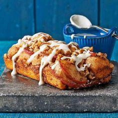 Apple-Cinnamon Pull-Apart Bread: Biscuits, apples, orange juice? Sounds like breakfast to us. Orange juice adds brightness to both the bite-of-autumn bread and the cream cheese icing drizzle.