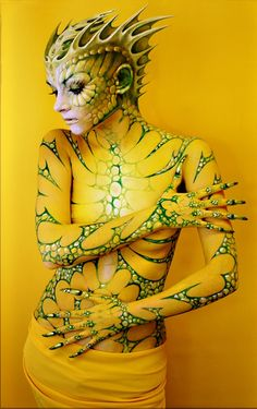 Alien cosplay created with just body paint