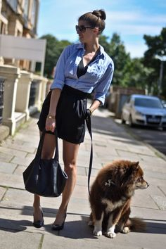 chambray shirt + black skirt
