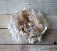 Bridal Silk Flower Hair Cclip Sash Pin by FashionTouchWeddings