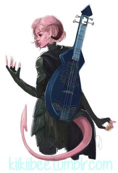 """rakugaki - beautiful Tiefling bard for - """"Horns, Tails, Why? Fantasy Character Design, Character Creation, Character Design Inspiration, Character Concept, Character Art, Concept Art, Dungeons And Dragons Characters, Dnd Characters, Fantasy Characters"""