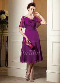 Mother of the Bride Dresses - $157.79 - A-Line/Princess Cowl Neck Tea-Length Chiffon Mother of the Bride Dress With Ruffle Crystal Brooch Cascading Ruffles (00805007861)