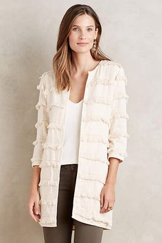 Fringe-Stripe Car Coat - anthropologie.com