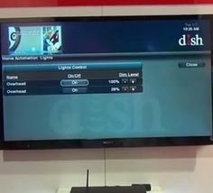 Home automation concept shows lights, thermostats, cameras being monitored and controlled via the television through a ZigBee/Z-Wave dongle in a Dish Hopper DVR.