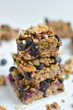 Take your granola bars up a notch with a chewy, oven-baked these Blueberry Protein Walnut Breakfast Bars packed nutrients & antioxidants!