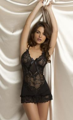 Black Lace and Bow Babydoll