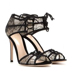 Gianvito Rossi - Lace and suede sandals - Gianvito Rossi's sandals are hand finished with a delicate Chantilly lace for a sheer effect. Complete with tonal suede trims and a edgy lace-up fastening, we love them with a cocktail dress. seen @ www.mytheresa.com