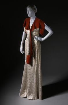 Woman's Evening Dress and Stole, ca. 1930, French or American, Silver lamé and silk velvet