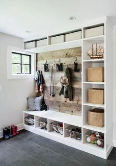 Mudroom Ideas - DIY Rustic Farmhouse Mudroom Decor, Storage and Mud Room Designs We Love Style At Home, Mudroom Cubbies, Mudroom Benches, Closet Mudroom, Ikea Closet, Entryway Closet, Storage Benches, Entryway Wall, Entry Hallway