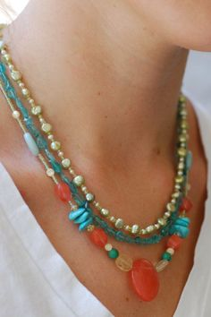 Multi Strand Beaded Necklace - Coral and Turquoise Necklace - Statement Jewelry…