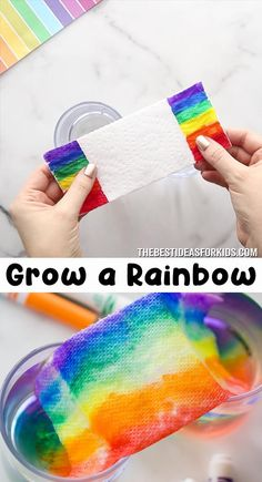 Grow a Rainbow 🌈 Experiment for Kids - such a fun science experiment! An easy. - Grow a Rainbow 🌈 Experiment for Kids – such a fun science experiment! An easy indoor kids activ - Creative Activities For Kids, Indoor Activities For Kids, Fun Crafts For Kids, Toddler Activities, Preschool Activities, Rainbow Activities, Babysitting Activities, Hacks For Kids, Outside Kid Activities