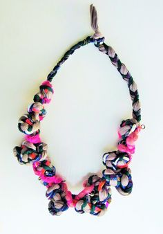 Fabric spring necklace textile knot necklace colorful by Jiakuma