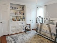 Traditional. The back-to-basics, traditional style of this nursery will work with decor for a baby to a teenager. The built-in-dresser, light gray walls and classic rug could work with virtually any style, material or color palette.