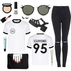 Clifford Shirt by sam-isabella on Polyvore featuring Topshop, Lulu Guinness, Givenchy, Ray-Ban, philosophy, MAC Cosmetics and shu uemura