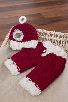 Newborn Pants and Hat Set, Red and White Christmas Hat and Pants, Baby Santa Hat and Knit Pants