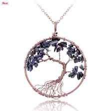 collier arbre de vie couleur bronze en lapis lazuli