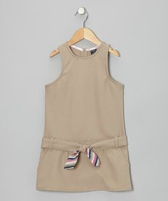 Take a look at this Khaki Belted Drop-Waist Jumper - Girls by U.S. Polo Assn. on #zulily today!