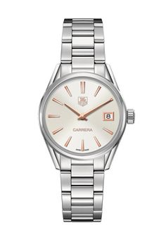 c73a9ea7a943 TAG Heuer Carrera Stainless Steel and Rose Gold Watch with White Mother of  Pearl Dial