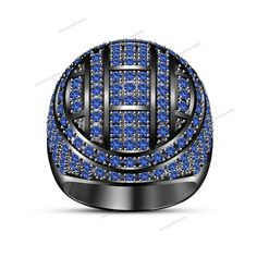 3.52ct RD Blue Sapphire 14k Black Gold 925 Sterling Silver  Men's Ring…