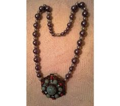 Pearl Necklace with Turquoise Pendant, $25.0