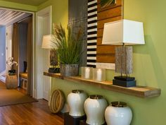 This floating shelf was crafted by carpenter David Brown made from weathered, reclaimed fencing.  http://www.hgtv.com/dream-home/hgtv-dream-home-2013-dining-room-pictures/pictures/page-16.html?soc=dhpp