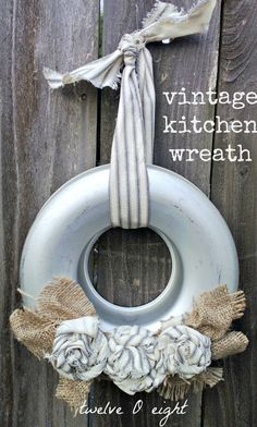 twelveOeight: Vintage Kitchen Wreath.  This could be fun to put up seasonally.