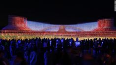 """<strong>The main event:</strong> The theme of this year's Nabana No Sato is """"beauty of mother nature."""" The main light show, pictured, features scenes from natural landscapes around the world, including Monument Valley in the United States."""