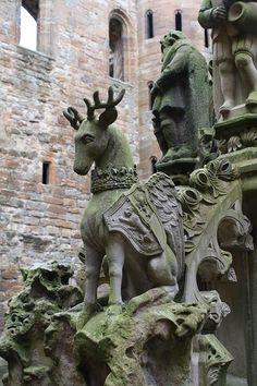 Linlithgow Palace ruins, West Lothian, Scotland. Peryton (winged deer) sculpture 1513 - 1543
