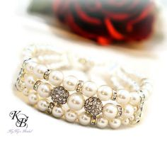 Pearl Cuff Bracelet, Bridal Bracelet, Wedding Jewelry, Anniversary Gift, Bridal Shower Gift, Cuff Bracelet, Pearl Bracelet, Gift For Bride | KyKy's Bridal, Handmade Bridal Jewelry, Wedding Jewelry