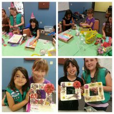 Troop 60298. Juniors creating a flower frame for their flower badge. The brownies and juniors are making a pinata and cupcakes in a mug for the GS birthday week.