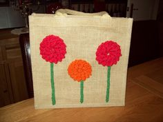 Handcrafted Personalised Unique Eco Friendly Jute/Hessian Bags - 30cm x 30cm x 20cm - Crochet Flowers by GetHookedwithLynn on Etsy