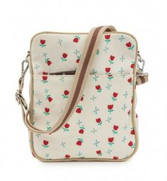 modherz ♥ Pink Lining Mini Messenger Bag Tulips And Forget Me Nots